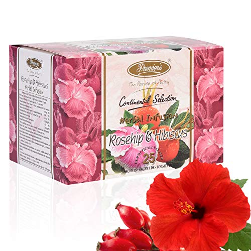 Premiers Rosehip & Hibiscus Herbal Infusion | 25 Cups | 37.5 Grams | Tea Bags