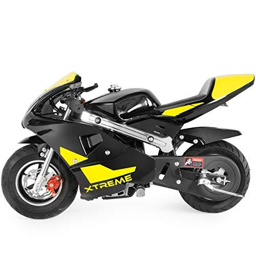 US Stock - 49cc Mini Gas Power Pocket Bike Motorcycle 4-Stroke Engine Motorcycle Holeshot Off Road Motorcycle for Kids Teenagers (Yellow, 105x60x65cm)