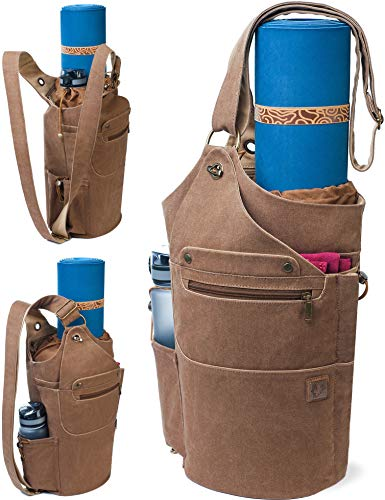 WRASCO Yoga Mat Bag Canvas Casual Yoga Backpack Convertible Yoga Mat Tote Sling Carrier - Fits Most Mat Sizes - Yoga Bags and Carriers for Women & Men - Gift 2 Elastic Straps (Brown)