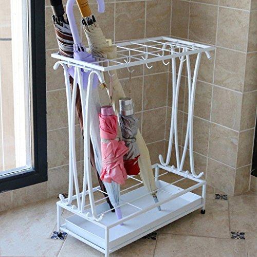 Porte-parapluies Iron Art Parapluie au Sol Étanche à la Pluie Étagères de Rangement Solides et durables 20 * 9 * 24 Pouces 18 Trous et 10 Crochets