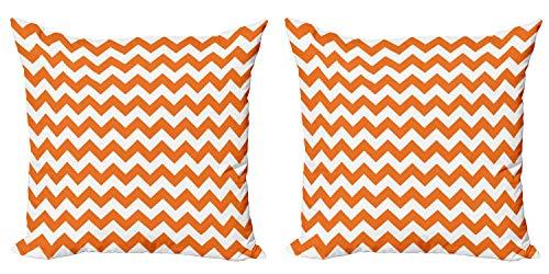 ABAKUHAUS Otoño Set de 2 Fundas para Cojín, Alquiler por Temporada de Color, con Estampado en Ambos Lados con Cremallera, 40 cm x 40 cm, Naranja Blanco