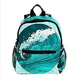 Mochila para Niños Olas de mar Azul Mochila para Infantil impresión Mochila Escolar Impermeable Backpack Bolsa para la Escuela para niños y niñas 3-8 años 25.4x10x30CM