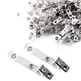 Cllayees 150 Pcs Badge Strap Clips Metal Badge Clips with Clear PVC Straps for Name Tags ID Card Holders Business Event