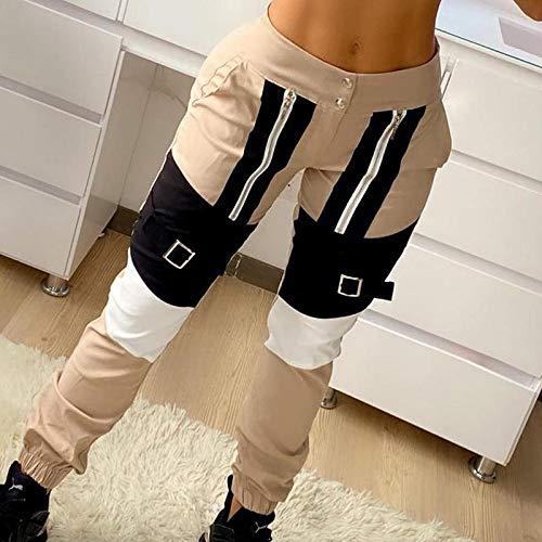 SHENSHI Damen Jogginghose Sporthose,Hohe Taille Patchwork Elastic Buckle Camouflage Hose, Khaki, X, Groß
