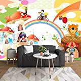 Zwgjwj Benutzerdefinierte Wandbild Cartoon Regenbogen Pilz Haus Tier Kinderzimmer...