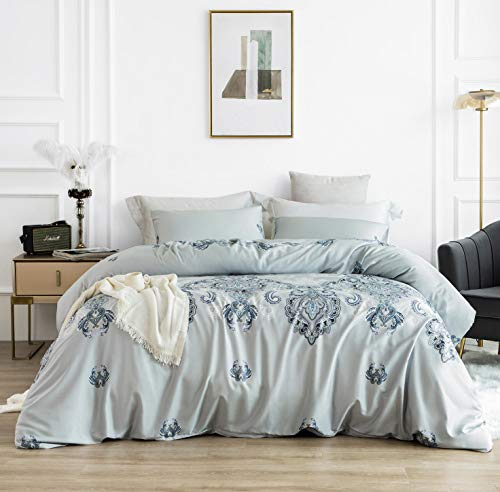 SUSYBAO 3 Piece Duvet Cover Set 100% Egyptian Cotton Queen Size Light Blue Damask Medallion Bedding Set 1 Paisley Duvet Cover with Zipper Ties 2 Pillowcases Luxury Quality Super Soft Durable Easy Care
