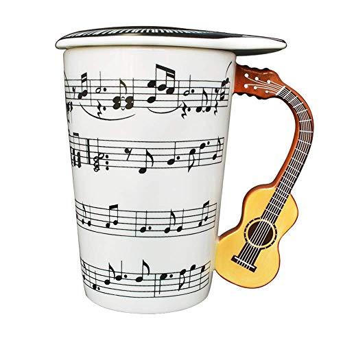 Giftgarden Kaffeetasse Lustig Teetasse Espresso Tasse mit Musiknoten Deckel und gelber Gitarre-Griff, 400ML