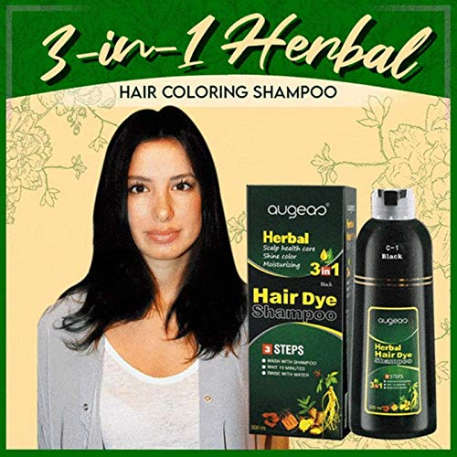 3-in-1 Herbal Hair Coloring Shampoo - Multicolor Pigment Temporary Dye, Refresh Hair Color Instantly, Helps Repair Damaged Hair's Surface, Lock in Moisture & Shine and Control Frizz (Black, 500ml)