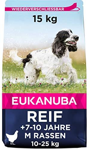 Eukanuba Hundefutter mit frischem Huhn für mittelgroße Rassen, Premium Trockenfutter für reife Hunde, 15 kg