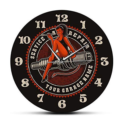 xinxin Relojes de Pared Devil Girl On Spark Plug Motor Auto Coche Servicio de reparación de Motocicletas Garaje Personalizado Reloj de Pared Hombre Cueva Reloj mecánico Personalizado