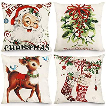 CDWERD Christmas Throw Pillow Covers 18x18 Inches Vintage Farmhouse Christmas Decorations Pillowcase Cotton Linen Cushion Case for Home Decor Set of 4