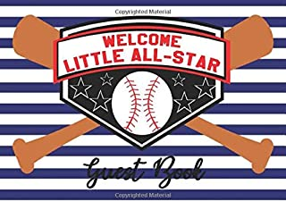 Welcome Little All-star Guest Book: Baseball Diamond Batter Bats Sports Ball Navy Blue Striped Background Baby Shower Party Sign-in Guestbook + Memory ... and Gift Tracker Log Pages - 8.25 x 6