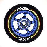 NOKAIC Pack de 2 Ruedas 100 mm para Patinetes Scooters Freestyle, Goma Negra, Núcleo Aluminio Color (Azul)