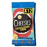 Snack de Queso Crujiente Cheesies, queso de cabra. Sin Carbohidratos, Alto en Proteínas, Sin Gluten, Vegetariano, Ceto. queso de cabra 12 Bolsas de 20g.