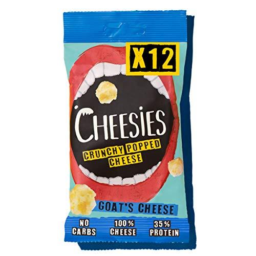 Cheesies - Snack de Queso Crujiente, Queso de Cabra. Sin Carbohidratos, Alto en Proteínas, Sin Gluten, Vegetariano, Ceto. queso de cabra 12 Bolsas de 20g.