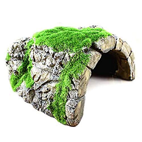 Betta Rock Cave, Fish Hideout for Shelter, Resting, Sleeping, Swimming, Natural-Looking Cave with Artificial Moss, Suitable for Crayfish, Shrimps, Aquatic Frogs, Pet-Safe & Durable