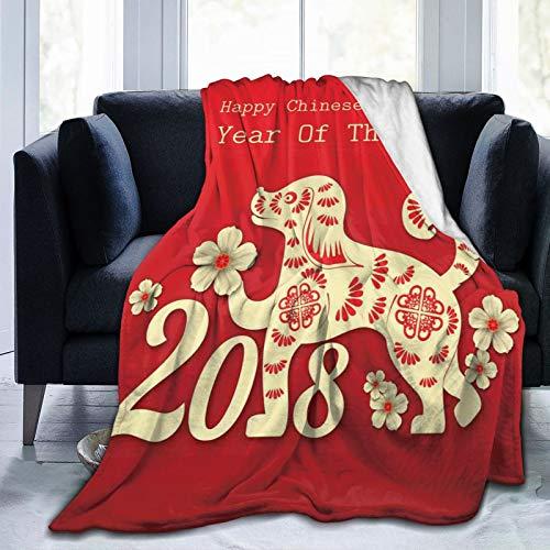 Manta suave y esponjosa, diseño de hojas y corazón de un canino feliz año nuevo chino, súper suave, manta de forro polar, manta para bebé, dormitorio, cama, TV, manta de cama de 152 x 127 cm