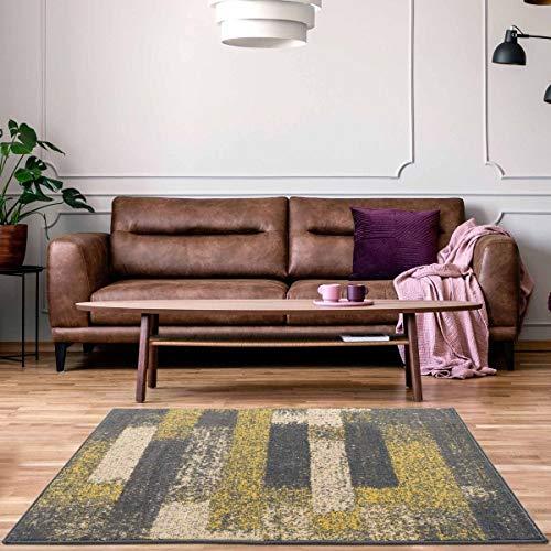 mynes Home Kurzflor Teppich Grau Gelb Pastellfarben Wohnzimmerteppich in Abstrakt Meliertem Modernem Muster, Haustierfreundlich, Kinderfreundlich, Top Designer Teppiche, Größe: 200 cm x 290 cm