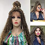 FSONA 28inch Faux Locs Crochet Braids Lace Front Wig L Part Ear to Ear with Curly Ends Hair Braiding Wig with Baby Hair Lightweight Bouncy Dreadlocs for Women (MT4/27)