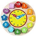 Jacootoys Forma de madera que clasifica el juguete del reloj con el juego educativo del número y de la forma para los niños de Jacootoys