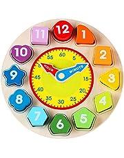 Jacootoys Houten Vorm Sorterend Klokspeelgoed met Nummer en Vorm Educatief Spel Cadeau voor Kinderen