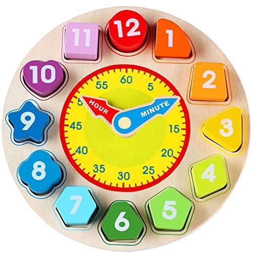 Jacootoys Lernuhr aus Holz Holzspielzeug Lernuhren für Kleinkinder Lernen Lernspiel Montessori Spielzeug mit Zahl ab 3 Jahre