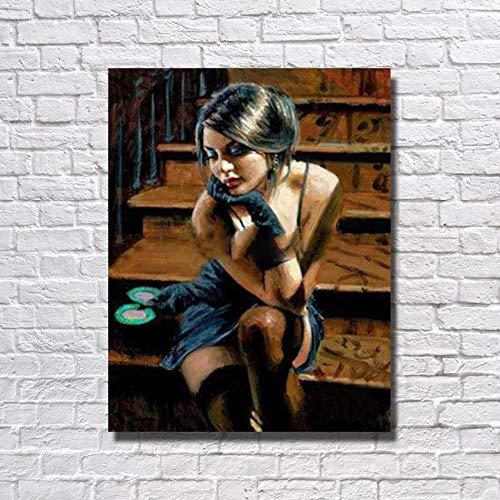 tzxdbh Hot India Meisje Olie Schilderen Woonkamer Muurfoto Grote Canvas Schilderijen Moderne Canvas Kunst Geen ingelijst Gro 50cmx60cm No Framed