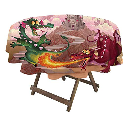 prunushome Fantasy Round Table Cloth Funny Dragons in Flame in Front of Castle Fable Comic Legend Creatures Illustration for Wedding/Banquet/Restaurant/Parties Pink Green | 60' Round