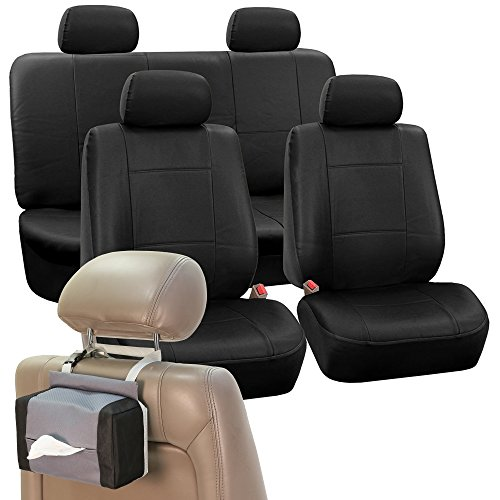 FH Group PU001114 PU Leather Seat Covers (Black) Full Set with Gift – Universal Fit for Cars Trucks & SUVs