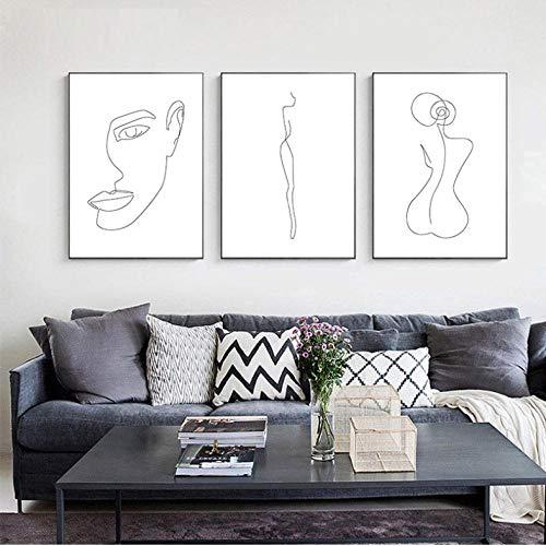 FANGYUAN Dessin au Trait Femme Corps Visage Abstrait Affiche Noir Blanc minimalisme Nordique Mur Art Impression Toile Peinture décorative Photo / 50X70Cmx3 sans Cadre