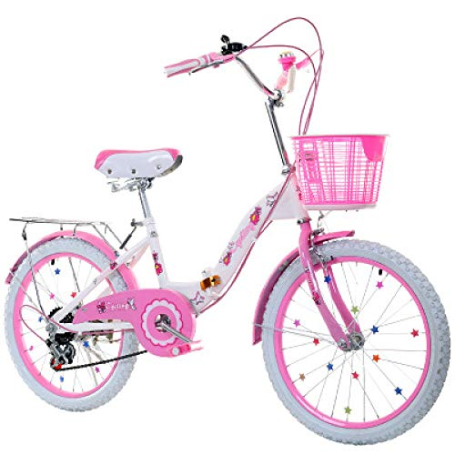 Great Deal! LINGS Foldable Bicycle Kids' Bikes 22-inch Gear Shift Children's Bike 6-14 Years Old Stu...
