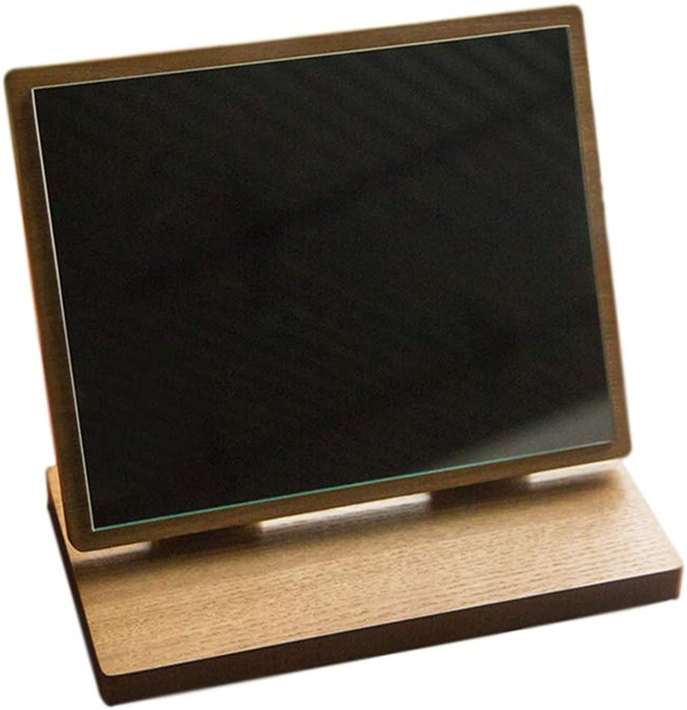 CSQ Rectangle Solid Wood Desktop Bracket Mirror, Dressing Mirror Dormitory Mirror Household Mirror Makeup Mirror Size 18  15CM, 23  20CM, 26  20CM Makeup and Mirror (Size   23  20CM)