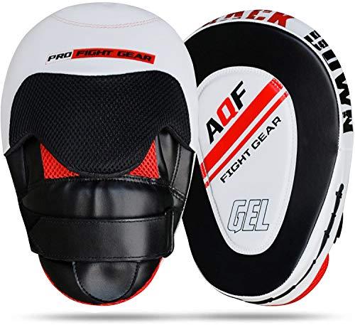 AQF Almohadillas de Enfoque Cuero Rex, Mitones Gancho y Jab, MMA Kick Boxing Muay Thai Entrenamiento de Boxeo (Blanco y Negro)