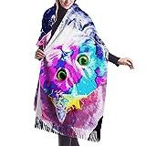 Tengyuntong Pashmina Wrap bufanda manta para mujer, bufanda Pashmina lindo gato en el universo suave gran tamaño bufanda estola chal