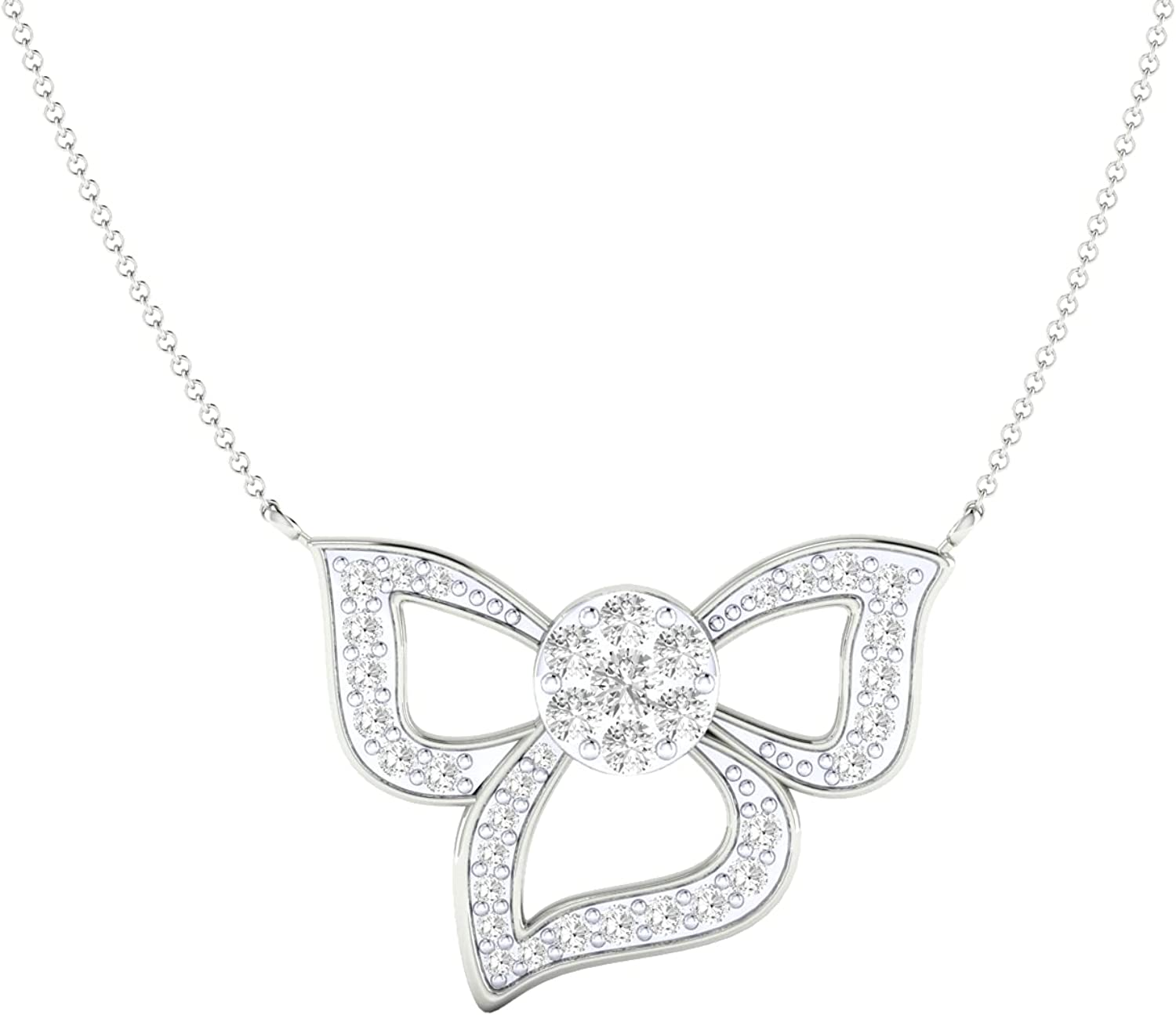 Certified 18K Gold Flower Pendant in Natural 0.63 Diamond Ranking TOP6 In stock Round