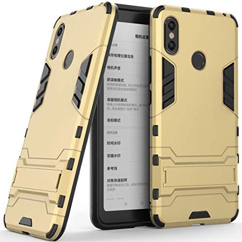 Funda para Xiaomi Mi MAX 3 (6,9 Pulgadas) 2 en 1 Híbrida Rugged Armor Case Choque Absorción Protección Dual Layer Bumper Carcasa con Pata de Cabra (Dorado)