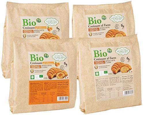 Croissant BIO (Confezione Mista 20 pz) Farro e Albicocca Senza Latte e Uova Vegano di Fraccaro Spumadoro - Lievitati con Solo L