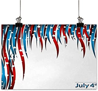 Josepsh 4th of July The Picture for Home Decoration Independence Day Themed Stars and Swirled Stripes Composition Ready to Hang for Home Decorations Wall Decor Red White and Navy Blue W20 x H16