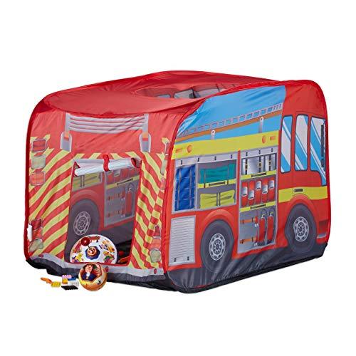 Relaxdays 10022459 Spielzelt Feuerwehr, Pop up Kinderzelt mit Automotiv, für Drinnen und Draußen, 70x110x70 cm, ab 3 Jahre, rot