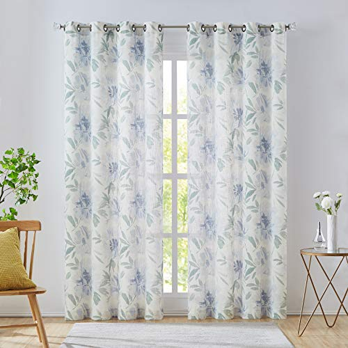 West Lake Blue White Floral Curtain Panels Semi-Sheer Linen Rayon Blend No See Through Traditional Flower Pattern Grommet Window Treatment for Bedroom,Living Room,White and Blue,52''x95'',2 pcs