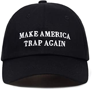 Custom Unisex 100% Cotton dad hat, Make America Trap Again Custom Adjustable Strapback hat in Black