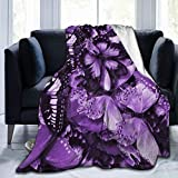 60'X50' Comfort Throw Blankets Ultra Soft and Fluffy Blankets Throw Blankets for Couch and Living Room Fall Winter and Spring - Purple Butterflies Blankets