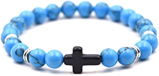 COODIO Unisex Fashion Elegant Cross Beaded Bracelet Simple Elasticity Hand Chain for Fashion Jewelry