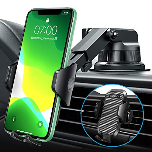 [2020 Upgraded] VANMASS Car Phone Mount [Super Suction Cup] Hands-Free Universal Phone Holder for Car Dashboard Windshield Air Vent, Compatible with iPhone 11 Xs Max XR X 8 SE Samsung S20 S10 Note 10