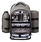Hap Tim 4 Person Picnic Backpack Hamper with Insulated Cooler Compartment includes Tableware & Fleece Blanket...
