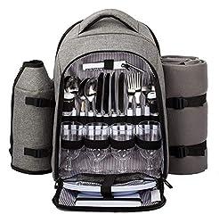 Picnic bag picnic backpack 4 people with fleece blanket