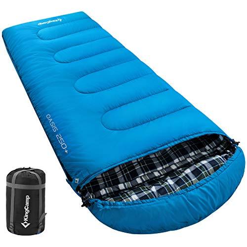 KingCamp Oasis 250+ Deckenschlafsack mit Kopfteil (Blau Left Zip)