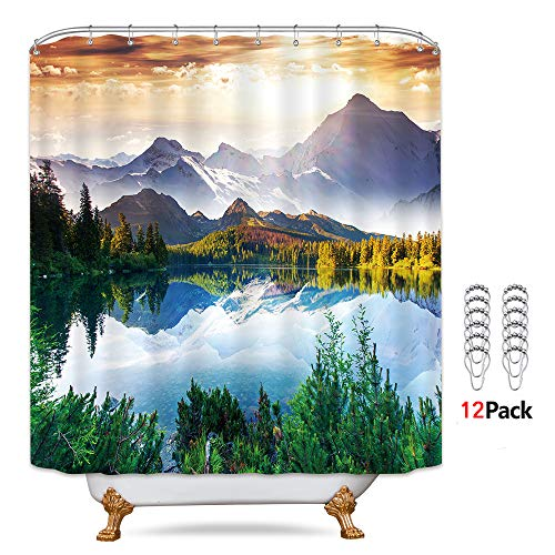 Riyidecor Mountain Scenic Shower Curtain 72Wx78H Inch Metal Hooks 12 Pack Scenery Landscape Art Blue Sky Forest Beauty Wilderness and Hiking Decor Fabric Set