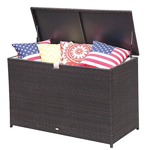 Patiorama Outdoor Wicker Storage Box Patio Aluminum Frame Espresso Brown Wicker Cushion Storage Bin Deck Box, 120 Gallon