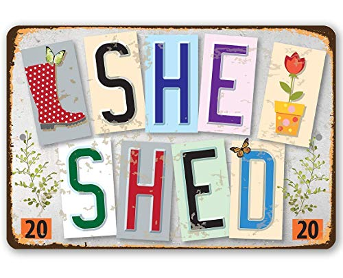 She Shed - Est. 2020 - Durable Metal Sign - 8' x 12' Use Indoor/Outdoor - Great Gift and Decor for Woman Cave Under $20